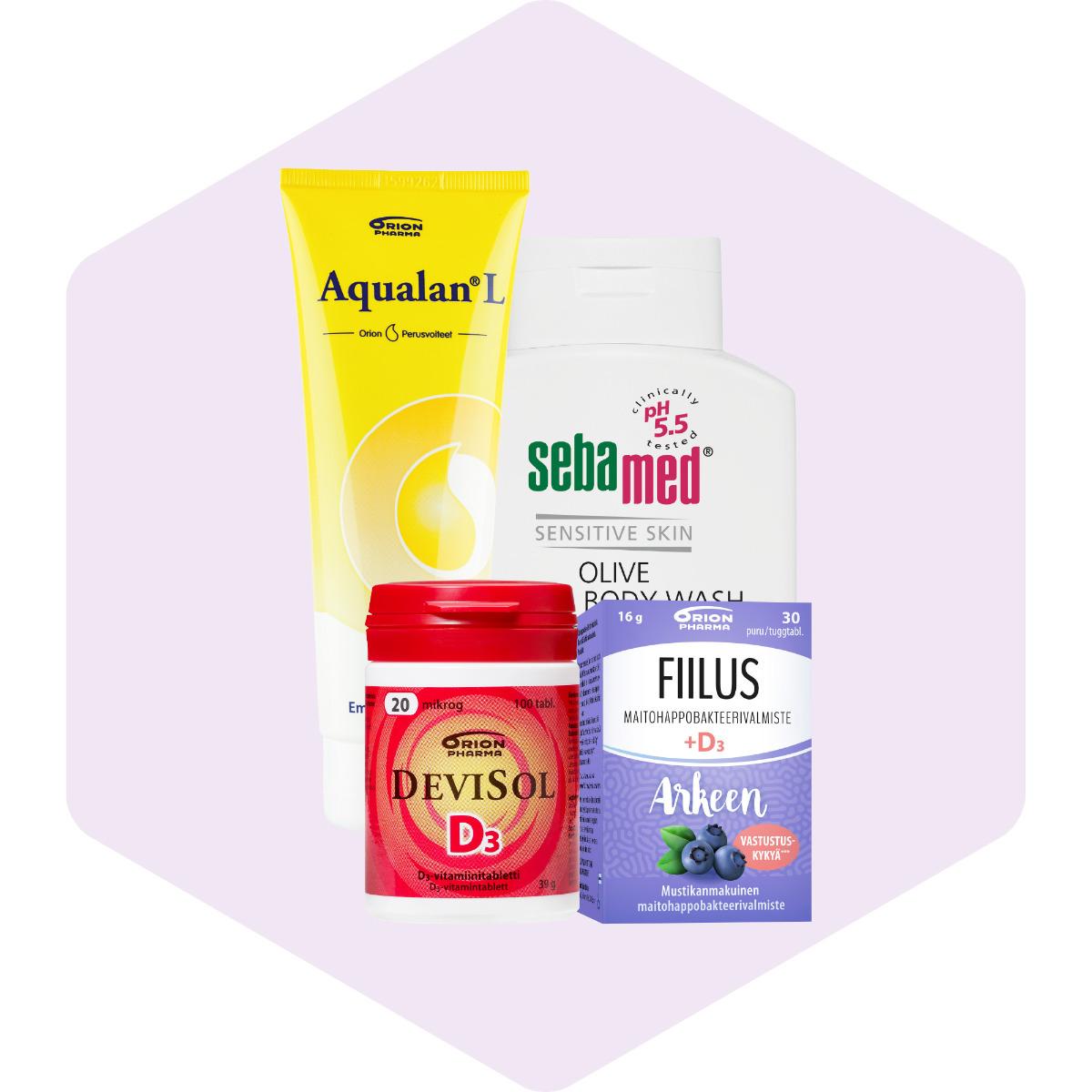Orionin tuotteita** ja puuvillakassi